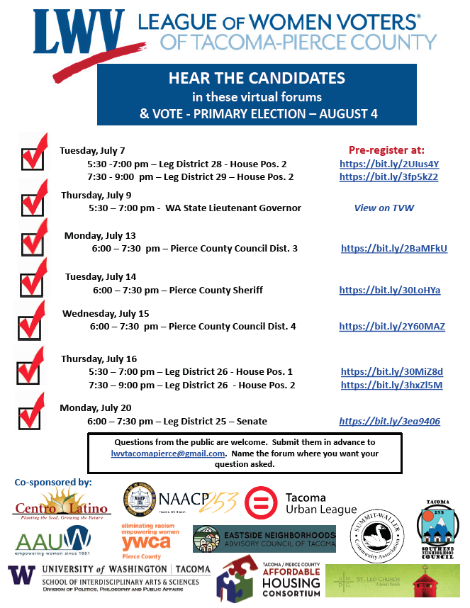 Upcoming Primary Candidate Forums